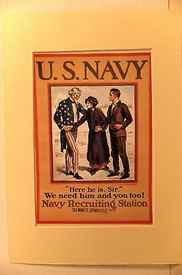 Reprint Poster  Us Navy Recruiting Ww1
