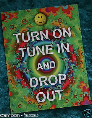 Turn On, Tune In and Drop Out 1960s Timothy Leary slogan postcard