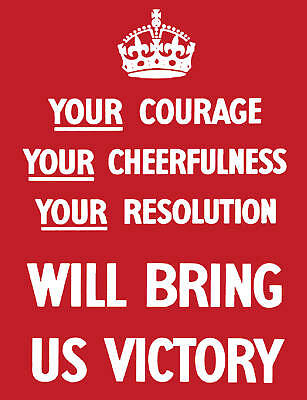 Courage Will Bring Us Victory postcard wartime propaganda