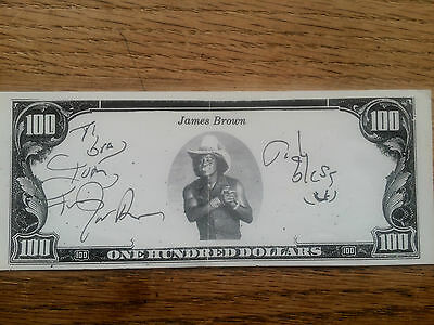 "James Brown Signed Copy $100 Bill-- Autographed ""to Bra Tom From James Brown"