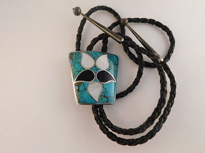 Turquoise Mop Onyx Sterling Bolo Tie Inlaid Signed N Norman Lee Navajo Silver