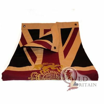 Vintage Union Jack Flag with Gold Royal Coat of Arms Embroidered Crest | Cotton