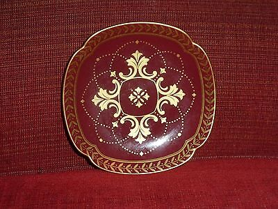 Mikimoto international small plate dish japan burgundy with gold trim 4""