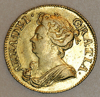 1713 Queen Anne Gold Full Guinea Coin