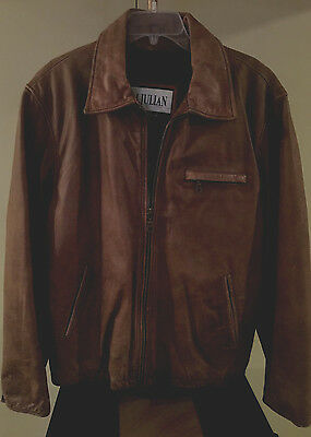 Men's  Wilson M. Julian  Weathered  Brown  Leather Jacket  Size L