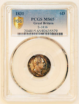 1831 PCGS-MS65 WILLIAM IV SILVER 6d SIXPENCE COIN PCGS-MS65