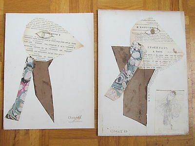 Marc Chagall Pair Hand Signed collage drawings 1920  Decorative