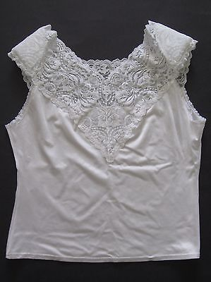 1980s vintage Vanity Fair white camisole with lace, shoulder pads, size L, USA