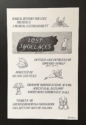 Edward Gorey *Lost Shoelaces* poster - SIGNED TWICE BY GOREY - RARE