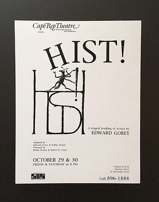 Edward Gorey *HIST!* poster - ILLUSTRATED BY GOREY - RARE