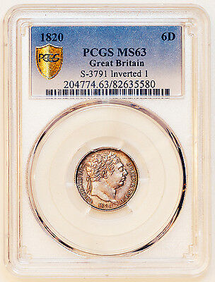 1820 PCGS-MS63 GEORGE III INVERTED ⇂ IN DATE 6d SIXPENCE COIN PCGS-MS63