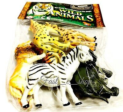 Zoo Animals Pack of 6 Lion Tiger Giraffe Elephant Zebra Cheetah - ages 3+