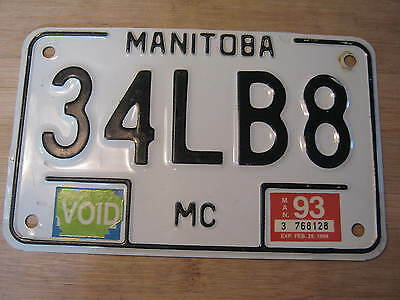 1993 Manitoba Motorcycle License Plate Expired 34Lb8