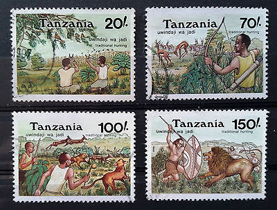 TANZANIA - 1992 - Traditional Hunting Methods - Full set of 4 used