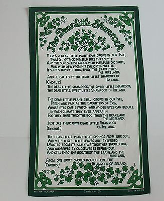 Dear Little Shamrock St Patricks Day Irish Ireland Linen Tea Bar Towel Causeway