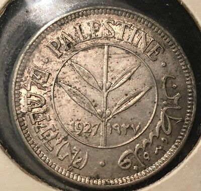 1927 Palestine 50 Mils Silver Coin XF++