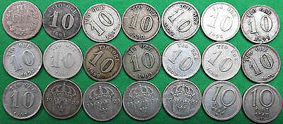 Lot of 21 Different Old Sweden Silver 10 ore Coins 1876-1947 Vintage Swedish!!