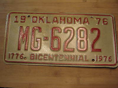 1976 Oklahoma Bicentennial License Plate Expired Mg 6282