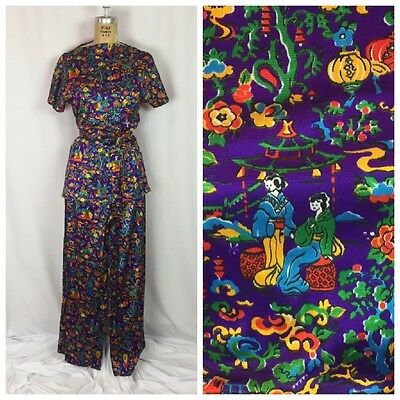 Vintage Japanese Garden Scene Print Belted Top and Wide Leg Pants Set. Small