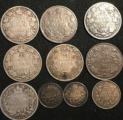 1906- 1919 Canada Silver Coins( A Lot Of 10 )