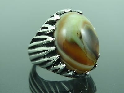 Turkish Handmade Ottoman Style 925 Sterling Silver Agate Stone Men's Ring Sz 8