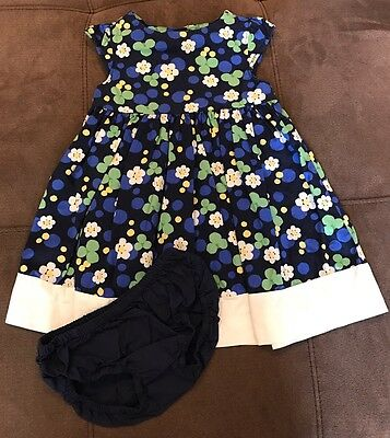 Gymboree Toddler Girls Size 12-18 Months Blue Yellow Green White Floral Dress