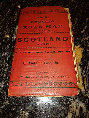 Bacon's cylcling road map Scotland South on cloth vintage map