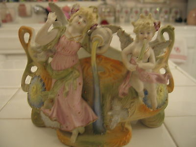 Beautiful Vintage Bisque Vase Planter With Cherub Angel And Lady Fairy Goddess