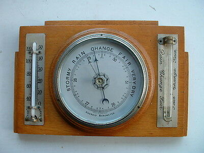 HEAVY WOODEN VINTAGE WALL BAROMETER 1940s (?)