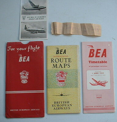 LOVELY 1954 BEA AIRLINE FLIGHT PACK inc MAP & TIMETABLE