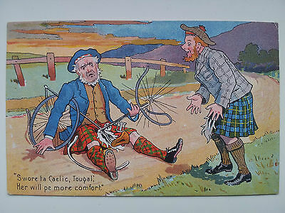 Stamped 1905 Comic Postcard Featuring  Scottish Chap Involved In Cycle Accident