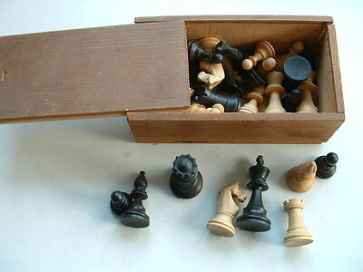 Vintage Wooden Chess Set With Box