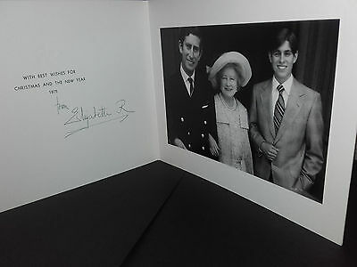 Signed autographed 1975 Christmas card from the Queen Mother. Charles & Andrew