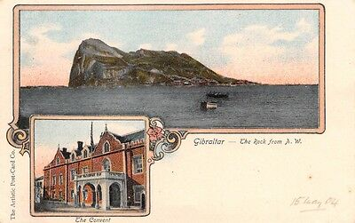 GIBRALTAR,  The Rock from N.W. Early Vignette Postcard by Artistic Postcard Co