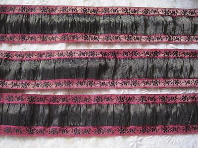 Vintage French Rushed Black And Red With Gold Metal Ribbon Trim      1 Yard