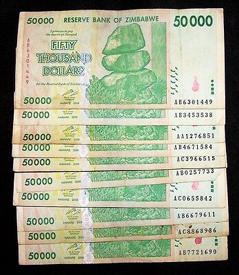 10 Zimbabwe 50000 (50,000) Dollar Banknotes-Circulated paper money currency