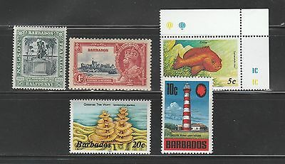 Barbados, Small Lot Of 5 Mint Never Hinged Issues, CV-$28.65