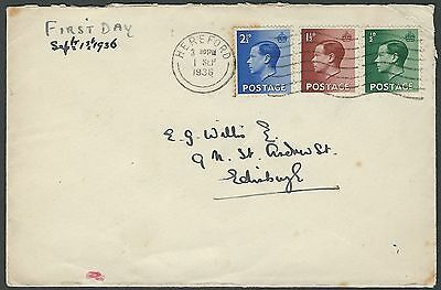 KEVIII 1936: SG_457, _459, _460 First Day Cover. Hereford to Edinburgh.