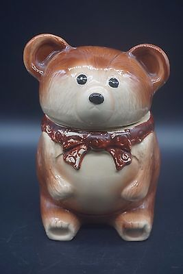 Vintage Teddy Bear with Red Bow Figural Cookie Jar Made In Japan Ceramic