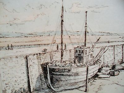 Michael Blaker 'FISHING BOAT AT PADSTOW' Signed Limited Edition Print. 1/200.