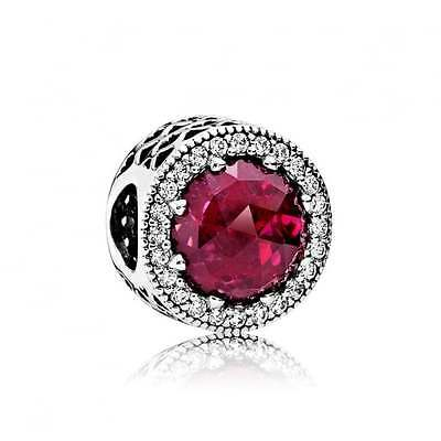 PANDORA Cerise Radiant Hearts Charm 791725NCC Genuine Authentic