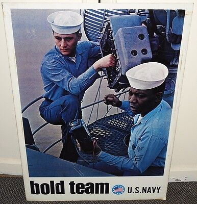 """VINTAGE NAVY RECRUITING METAL SIGN FLY YOUR OWN JET BOLD TEAM 2 SIDED 30"""" x 41"""""""