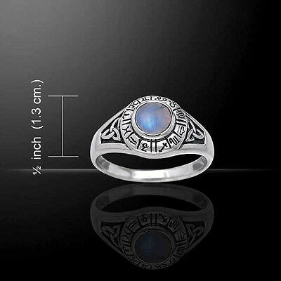 ZODIAC SYMBOLS/ASTROLOGY SIGNS Ring Sterling Silver - Rainbow Moonstone