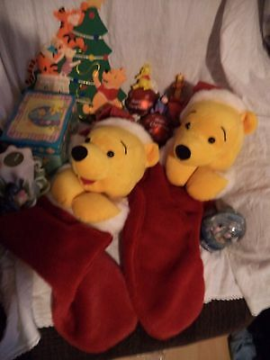 Mix of Disney Winnie the Pooh Items, Christmas Decorations/Candle/snow globe ect