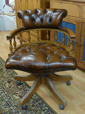 Reproduction Antique Brown Leather Captains Office Swivel Chair