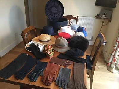 Vintage Hat Box & Job Lot Quality Ladies Hats & Gloves 22 Items