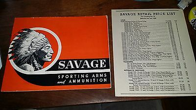 Original 1939 Savage Arms and Ammunition Catalog No. 73 with Price List Form 76