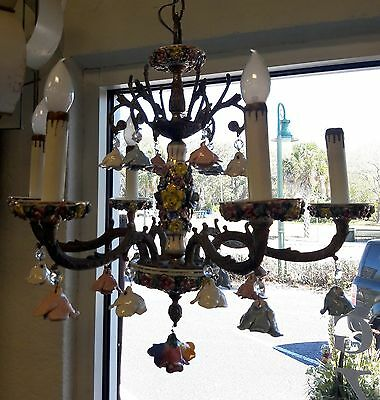 Vintage Brass & Porcelain Multi Colored Rose 6 Arm Chandelier