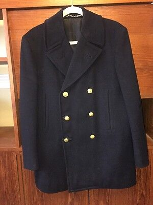 Vintage WWII US Navy Officer Dress Wool Pea Coat Named Jacob Reeds
