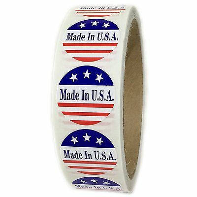 "Red, White and Blue ""Made in U.S.A."" 3 Stars Labels Stickers - 1"" dia - 500 ct"
